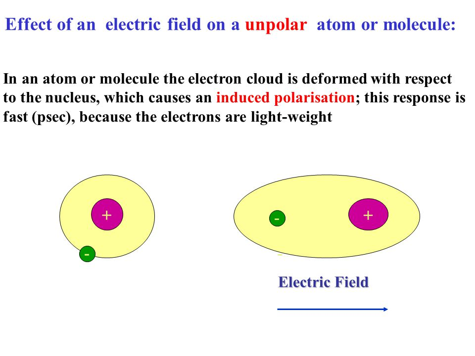 Effect of an electric field on a unpolar atom or molecule: In an atom or molecule the electron cloud is deformed with respect to the nucleus, which causes an induced polarisation; this response is fast (psec), because the electrons are light-weight + - + - - Electric Field