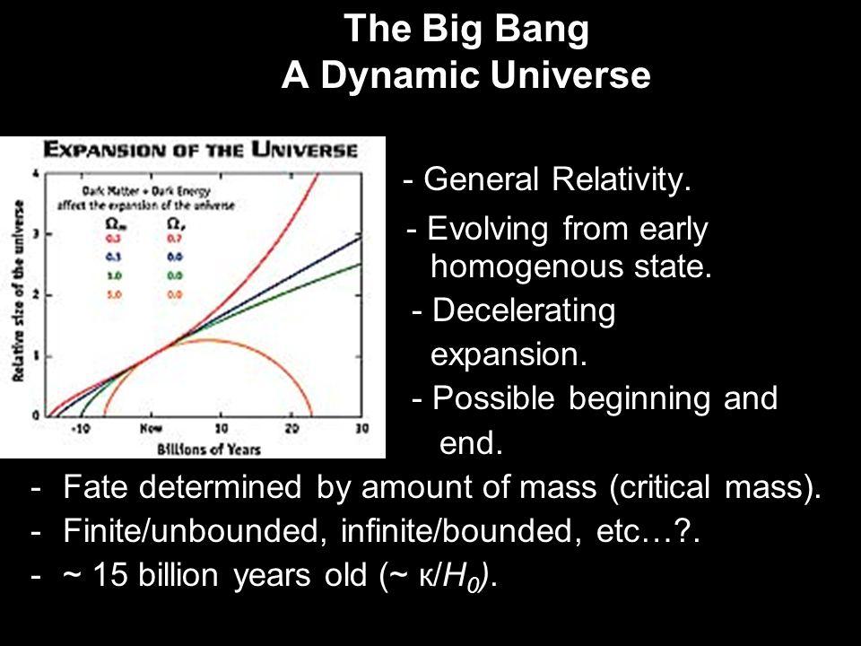 The Big Bang A Dynamic Universe - General Relativity.