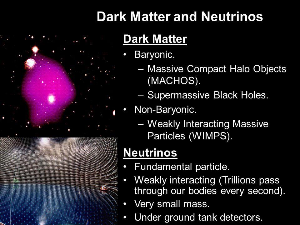 Dark Matter and Neutrinos Dark Matter Baryonic. –Massive Compact Halo Objects (MACHOS).