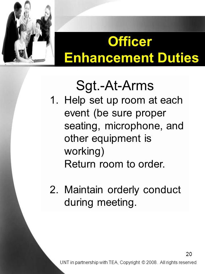 20 Officer Enhancement Duties Sgt.-At-Arms 1.