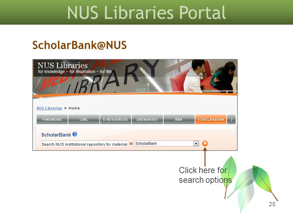 NUS Libraries Portal 25 ScholarBank@NUS Click here for search options