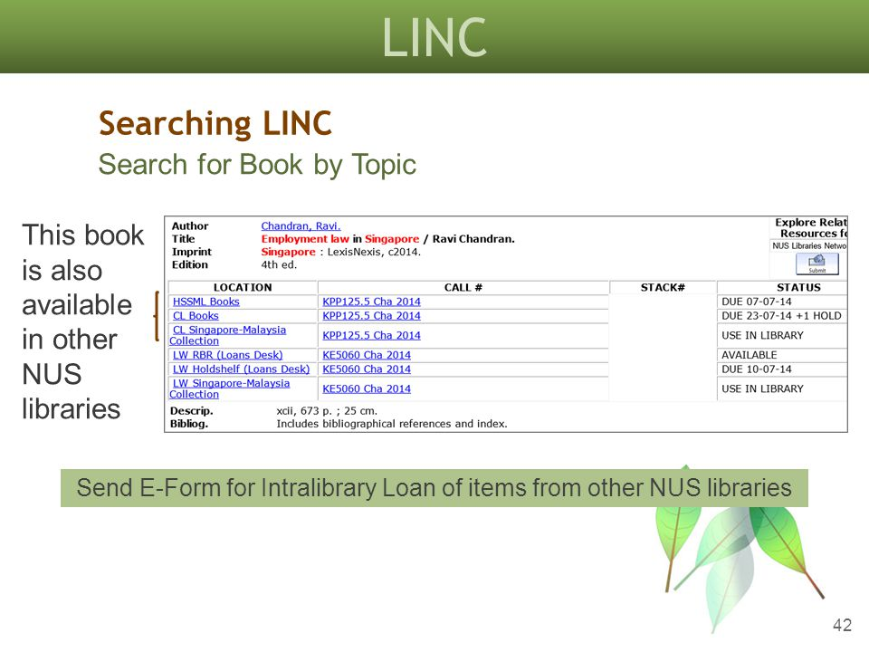 LINC 42 Searching LINC Search for Book by Topic This book is also available in other NUS libraries Send E-Form for Intralibrary Loan of items from other NUS libraries
