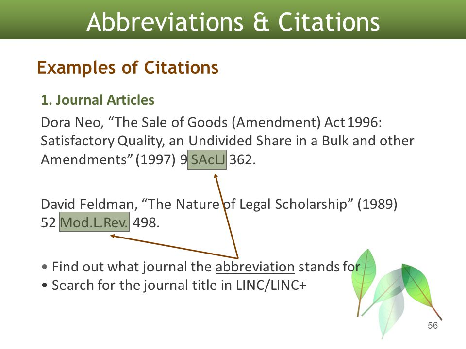 56 Abbreviations & Citations Examples of Citations 1.