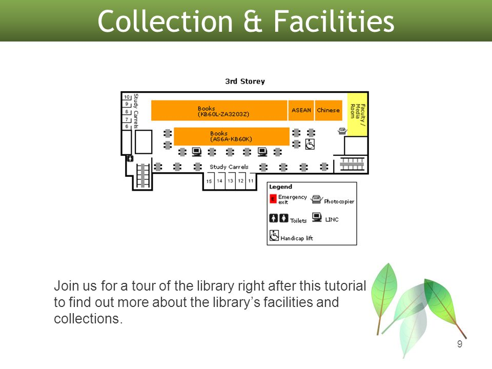 9 Join us for a tour of the library right after this tutorial to find out more about the library's facilities and collections.