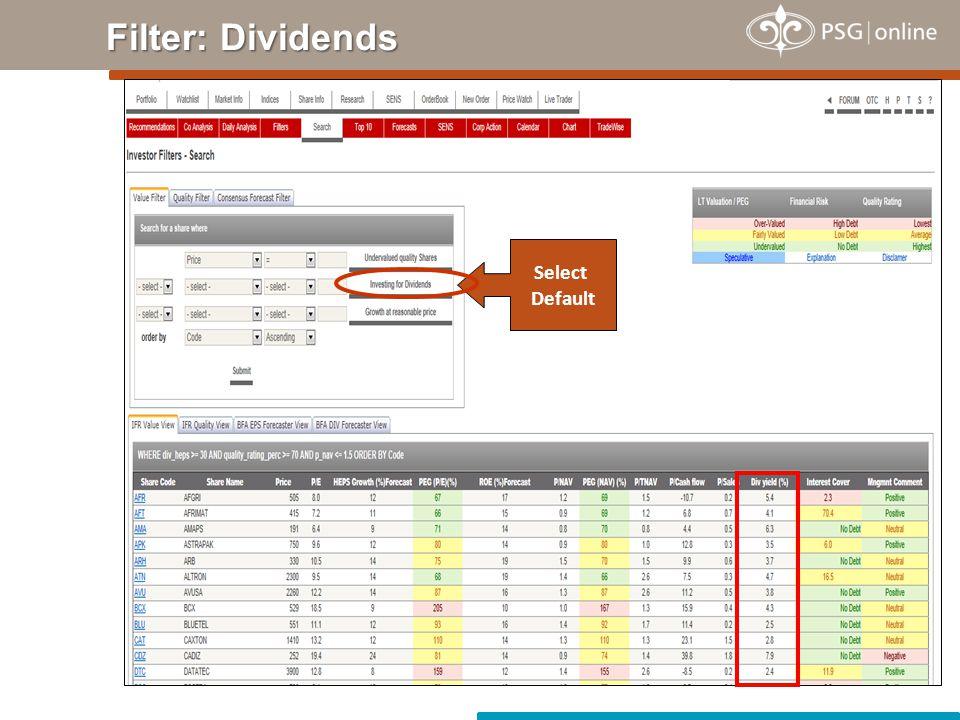 Filter: Dividends Select Default