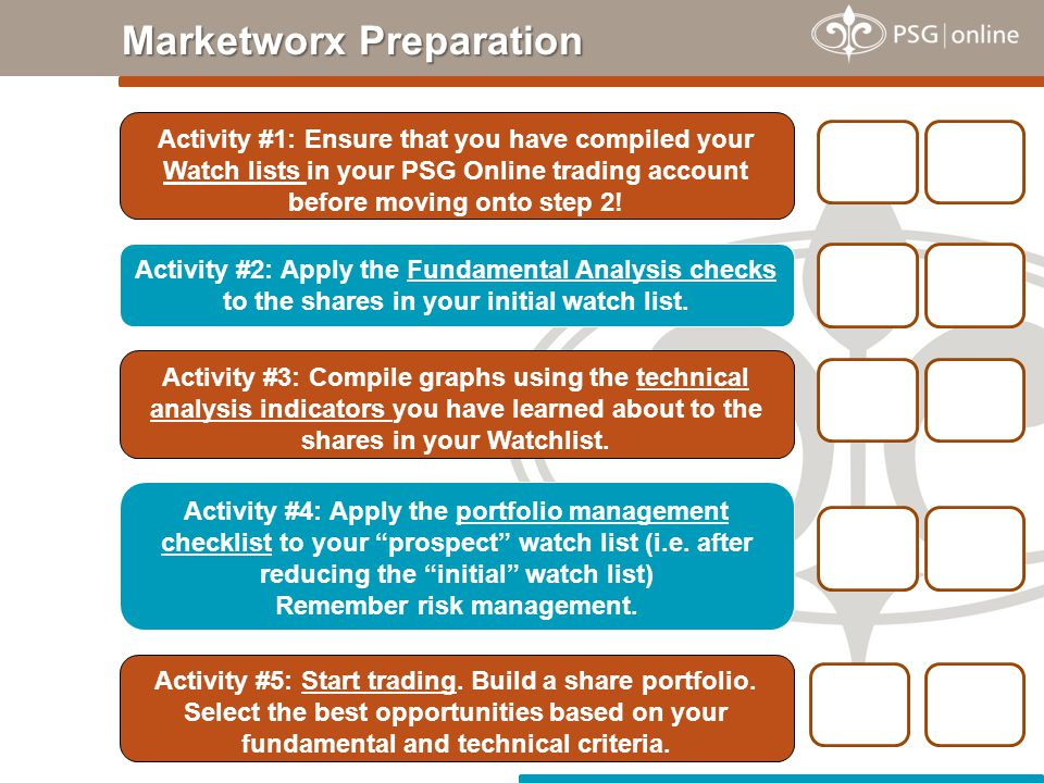 Marketworx Preparation Activity #2: Apply the Fundamental Analysis checks to the shares in your initial watch list.