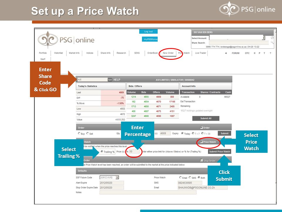 Set up a Price Watch Enter Share Code & Click GO Select Price Watch Select Trailing % Click Submit EnterPercentage