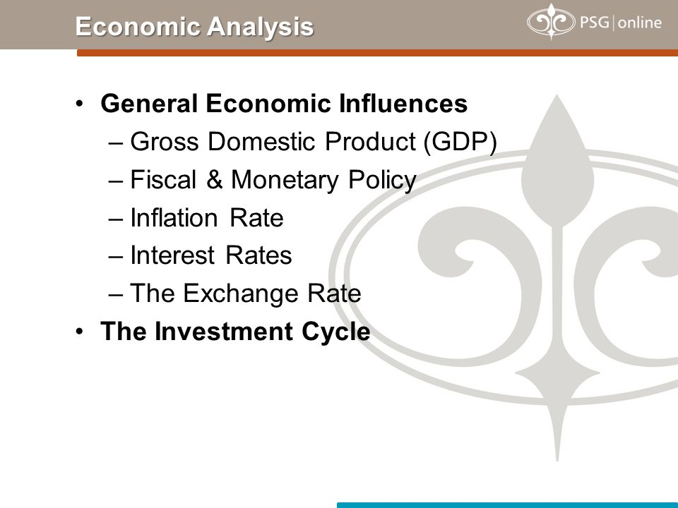 General Economic Influences –Gross Domestic Product (GDP) –Fiscal & Monetary Policy –Inflation Rate –Interest Rates –The Exchange Rate The Investment Cycle Economic Analysis
