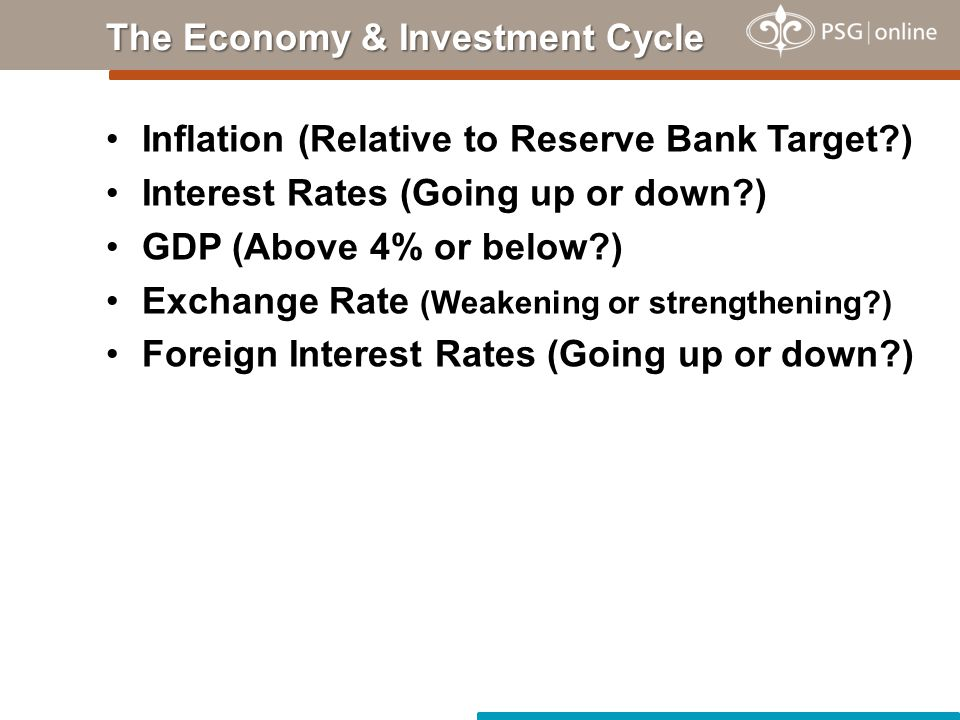 Inflation (Relative to Reserve Bank Target ) Interest Rates (Going up or down ) GDP (Above 4% or below ) Exchange Rate (Weakening or strengthening ) Foreign Interest Rates (Going up or down ) The Economy & Investment Cycle