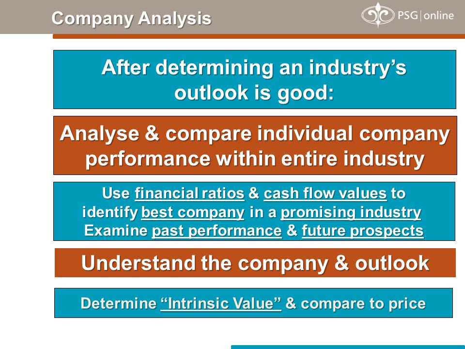 Company Analysis After determining an industry's outlook is good: Analyse & compare individual company performance within entire industry Use financial ratios & cash flow values to identify best company in a promising industry Examine past performance & future prospects Understand the company & outlook Determine Intrinsic Value & compare to price