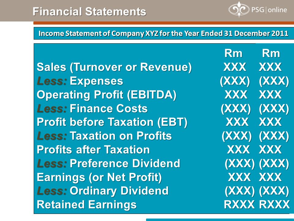 Rm Rm Sales (Turnover or Revenue) XXX Less: Expenses (XXX) Operating Profit (EBITDA) XXX Less: Finance Costs (XXX) Profit before Taxation (EBT) XXX Less: Taxation on Profits (XXX) Profits after Taxation XXX Less: Preference Dividend (XXX) Earnings (or Net Profit) XXX Less: Ordinary Dividend (XXX) Retained Earnings RXXX Income Statement of Company XYZ for the Year Ended 31 December 2011 Financial Statements Rm RmXXX(XXX)XXX(XXX)XXX(XXX)XXX(XXX)XXX(XXX)RXXX