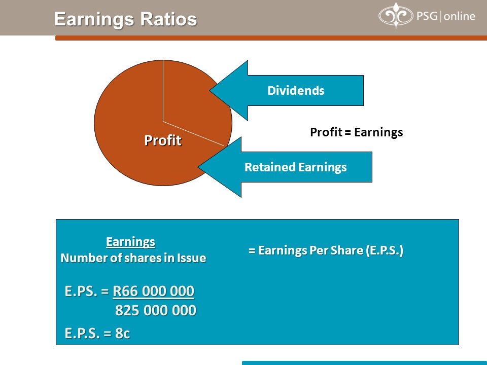 Earnings Number of shares in Issue Earnings Number of shares in Issue Profit Profit = Earnings Dividends Retained Earnings = Earnings Per Share (E.P.S.) E.PS.
