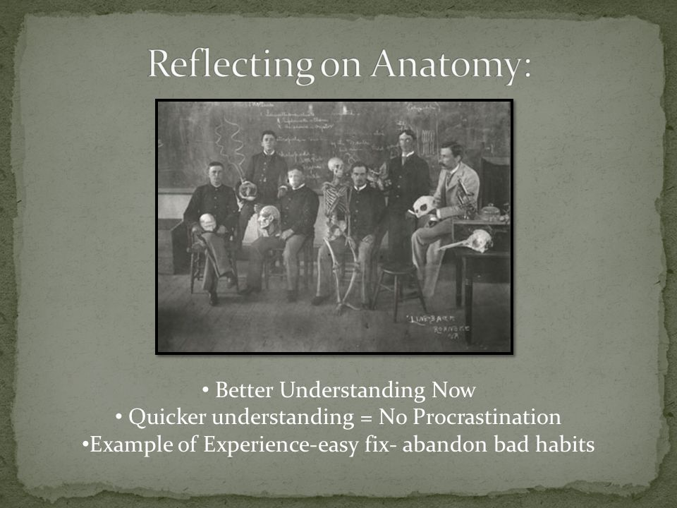 Better Understanding Now Quicker understanding = No Procrastination Example of Experience-easy fix- abandon bad habits