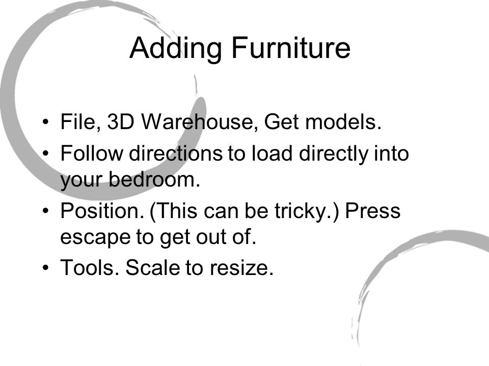 Adding Furniture File, 3D Warehouse, Get models.