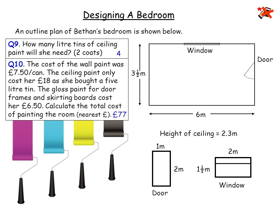 Painting 6m 3½m Window Door 2m 1½m Window Door 2m 1m Designing A Bedroom An outline plan of Bethan's bedroom is shown below.