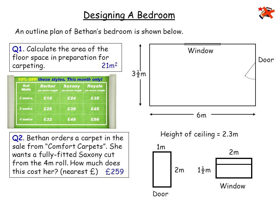 Designing A Bedroom Bethan and her parents have just moved into a new home.