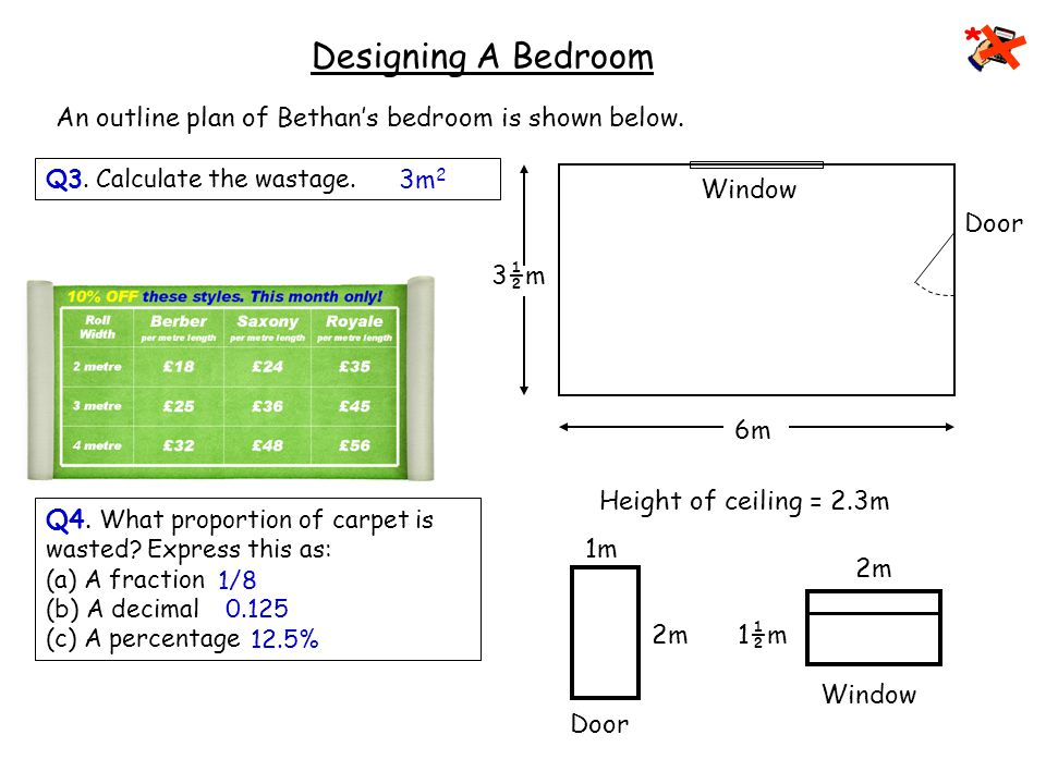Carpeting 6m 3½m Window Door 2m 1½m Window Door 2m 1m Designing A Bedroom An outline plan of Bethan's bedroom is shown below.