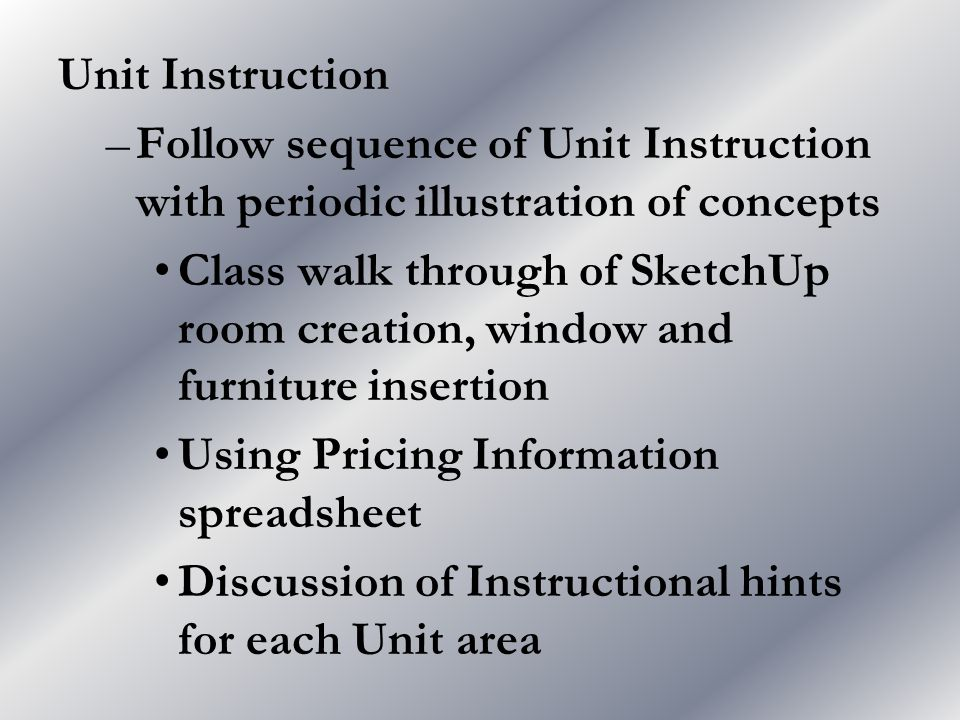 Unit Instruction –Follow sequence of Unit Instruction with periodic illustration of concepts Class walk through of SketchUp room creation, window and