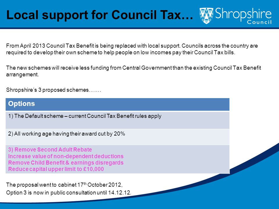 From April 2013 Council Tax Benefit is being replaced with local support.