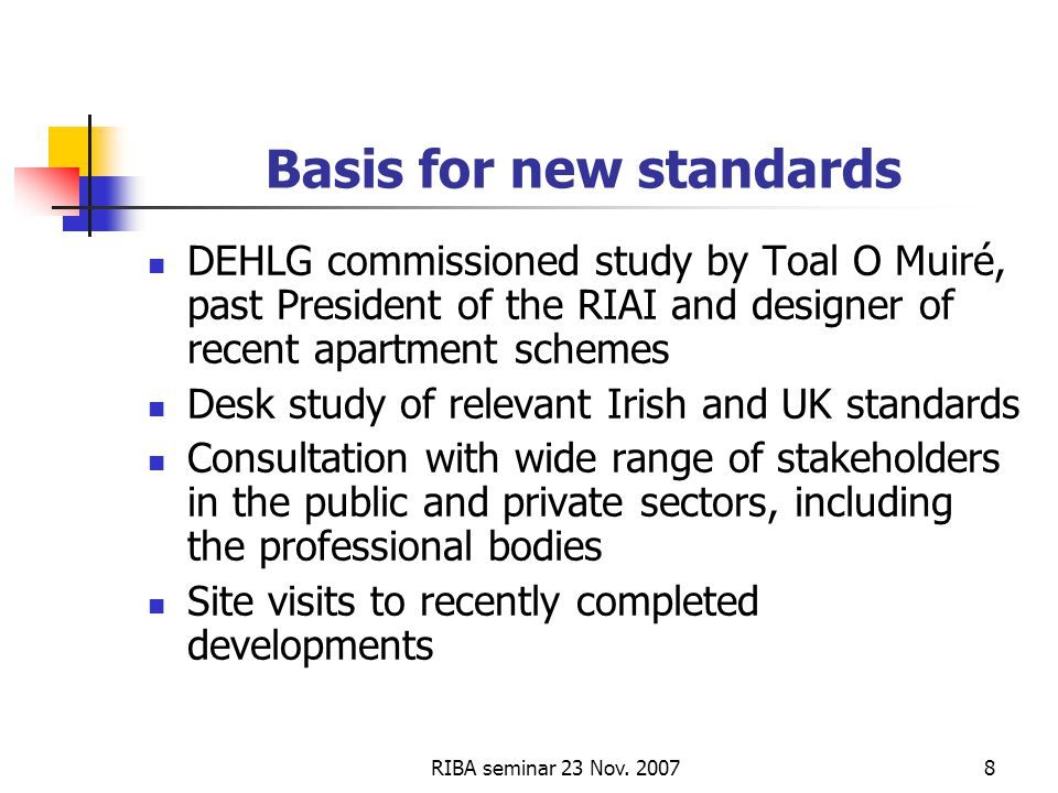 RIBA seminar 23 Nov. 20078 Basis for new standards DEHLG commissioned study by Toal O Muiré, past President of the RIAI and designer of recent apartme