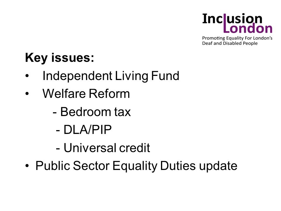 Key issues: Independent Living Fund Welfare Reform - Bedroom tax - DLA/PIP - Universal credit Public Sector Equality Duties update