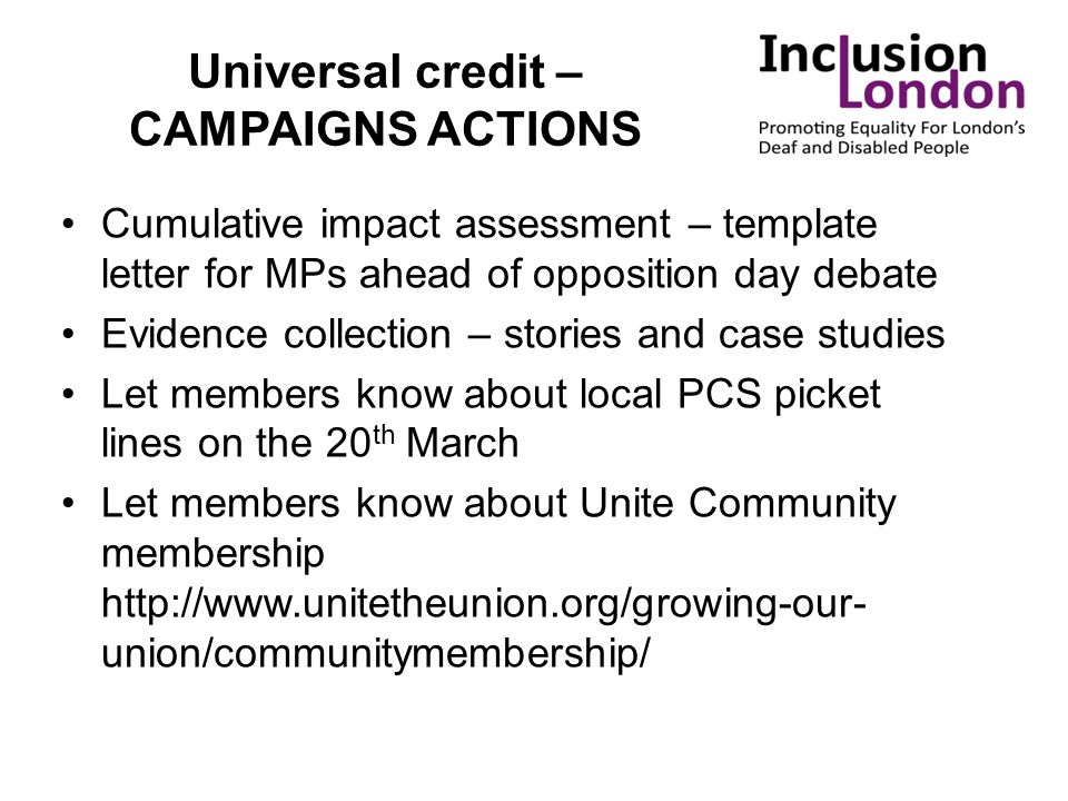 Universal credit – CAMPAIGNS ACTIONS Cumulative impact assessment – template letter for MPs ahead of opposition day debate Evidence collection – stori