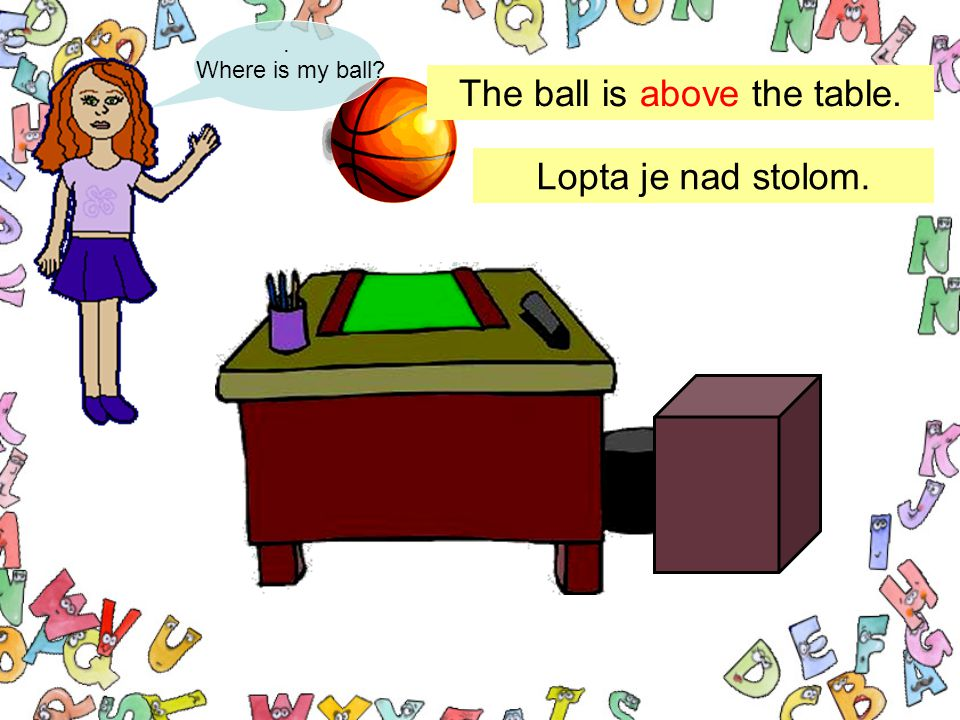 . Where is my ball? The ball is above the table. Lopta je nad stolom.