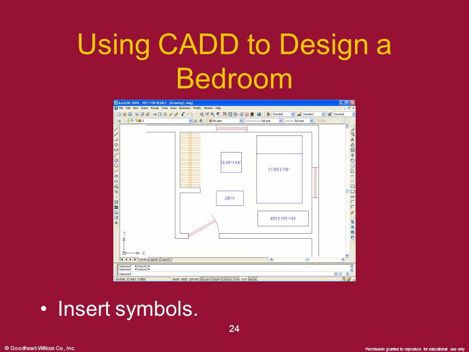 © Goodheart-Willcox Co., Inc. Permission granted to reproduce for educational use only 24 Using CADD to Design a Bedroom Insert symbols.