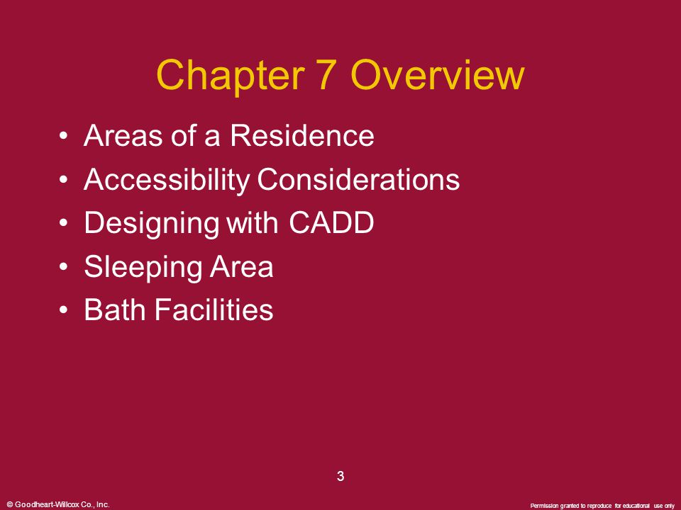 © Goodheart-Willcox Co., Inc. Permission granted to reproduce for educational use only 3 Chapter 7 Overview Areas of a Residence Accessibility Conside