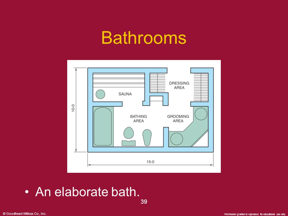 © Goodheart-Willcox Co., Inc. Permission granted to reproduce for educational use only 39 Bathrooms An elaborate bath.