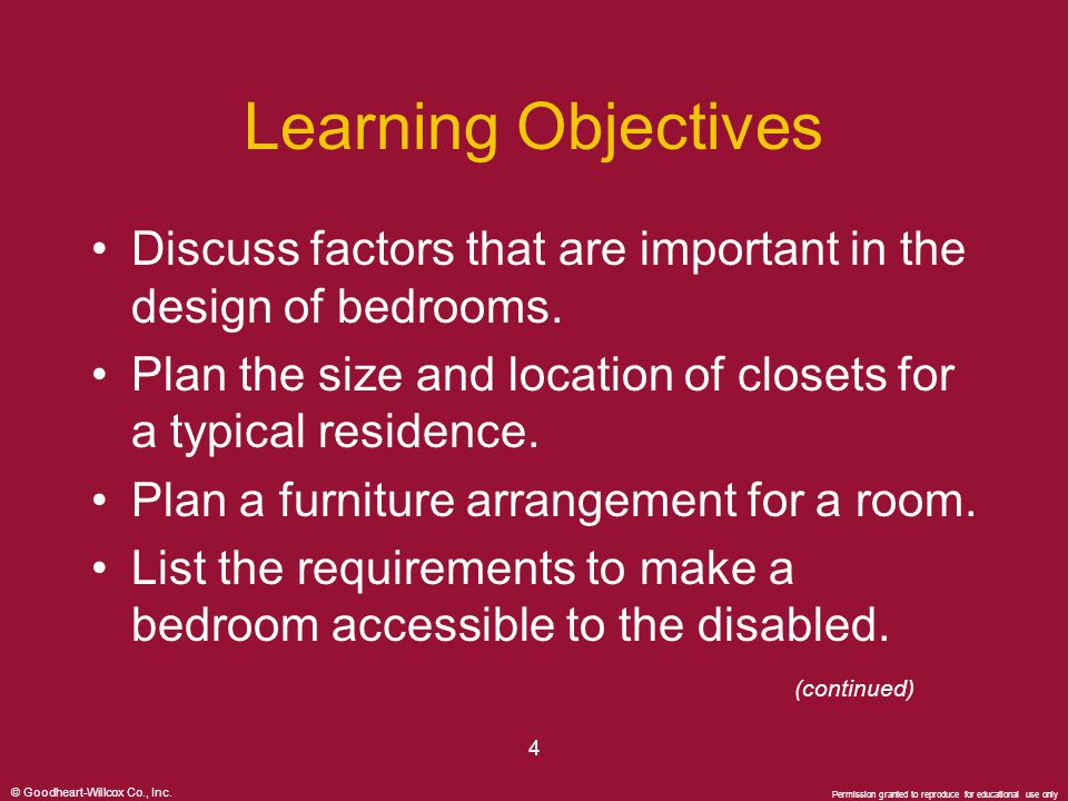 © Goodheart-Willcox Co., Inc. Permission granted to reproduce for educational use only 4 Learning Objectives Discuss factors that are important in the