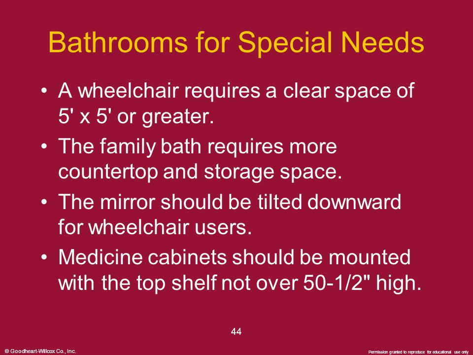 © Goodheart-Willcox Co., Inc. Permission granted to reproduce for educational use only 44 Bathrooms for Special Needs A wheelchair requires a clear sp