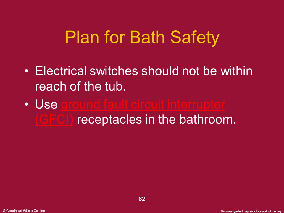 © Goodheart-Willcox Co., Inc. Permission granted to reproduce for educational use only 62 Plan for Bath Safety Electrical switches should not be withi