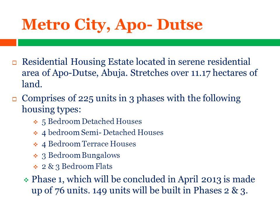 Metro City, Apo- Dutse  Residential Housing Estate located in serene residential area of Apo-Dutse, Abuja.