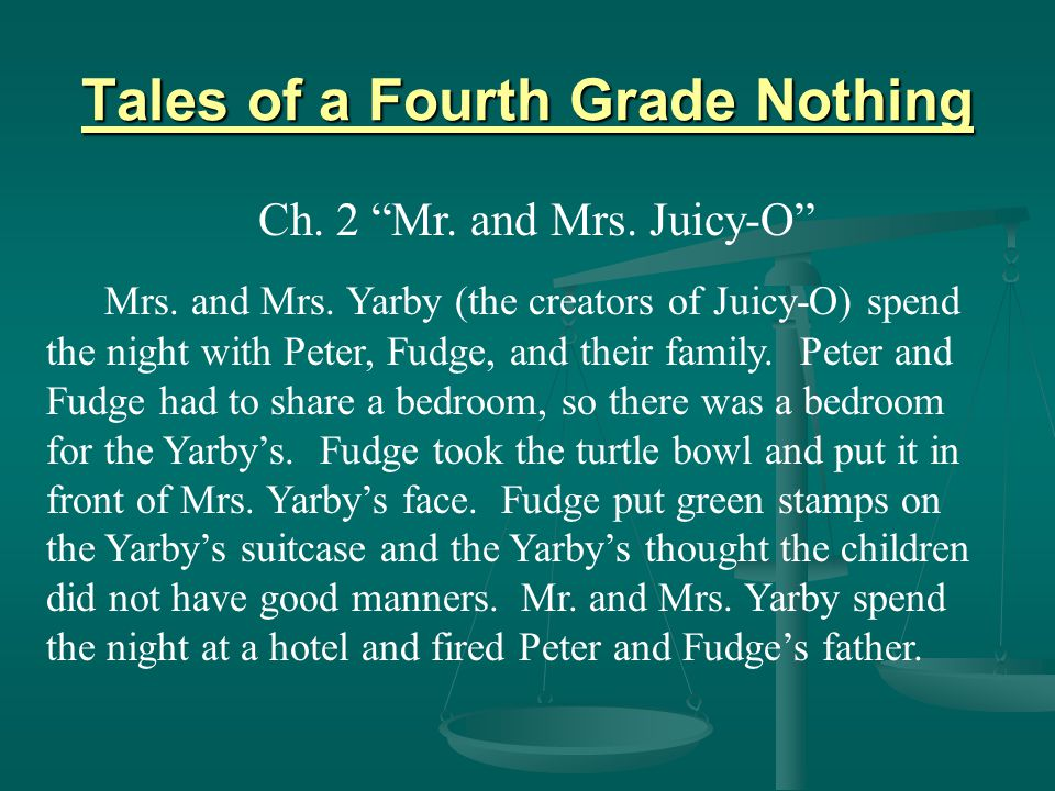 """Tales of a Fourth Grade Nothing Ch. 2 """"Mr. and Mrs. Juicy-O"""" Mrs. and Mrs. Yarby (the creators of Juicy-O) spend the night with Peter, Fudge, and thei"""