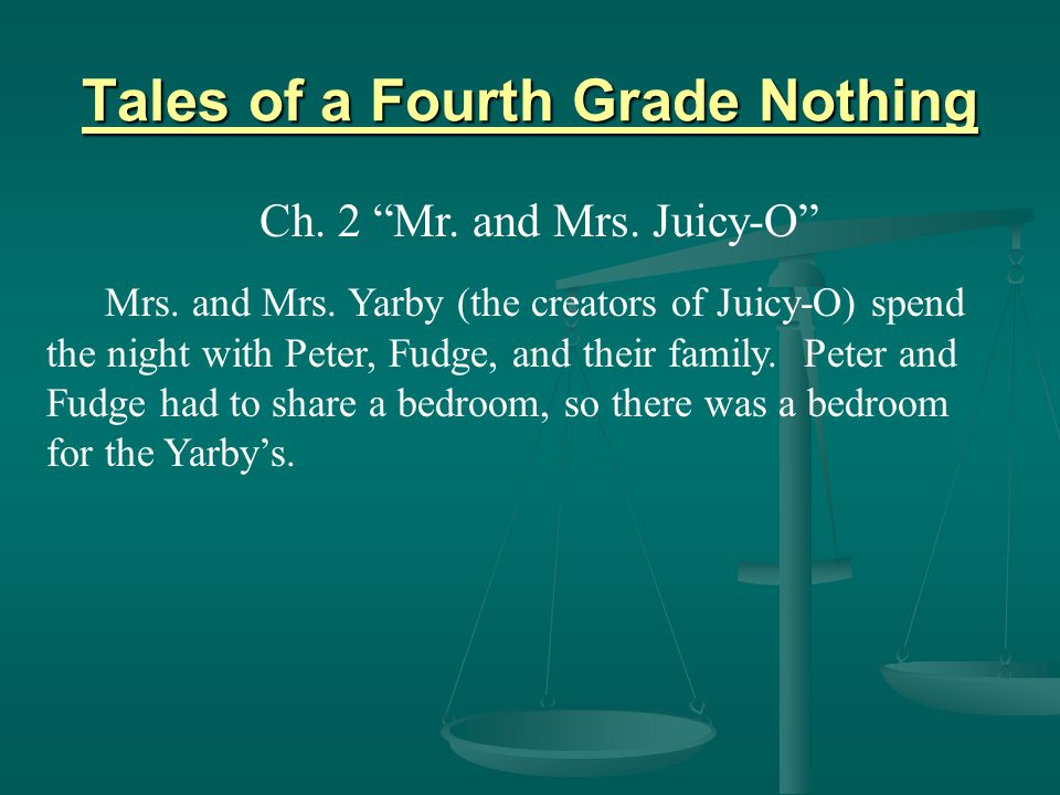 """Ch. 2 """"Mr. and Mrs. Juicy-O"""" Mrs. and Mrs. Yarby (the creators of Juicy-O) spend the night with Peter, Fudge, and their family."""