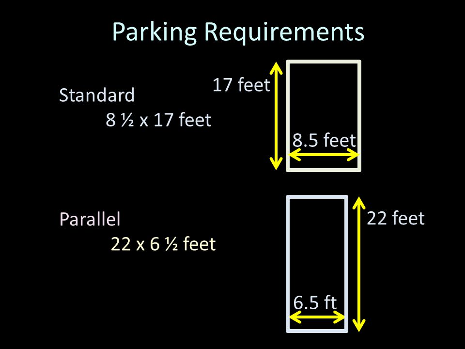 Standard 8 ½ x 17 feet Parallel 22 x 6 ½ feet 8.5 feet 17 feet 6.5 ft 22 feet
