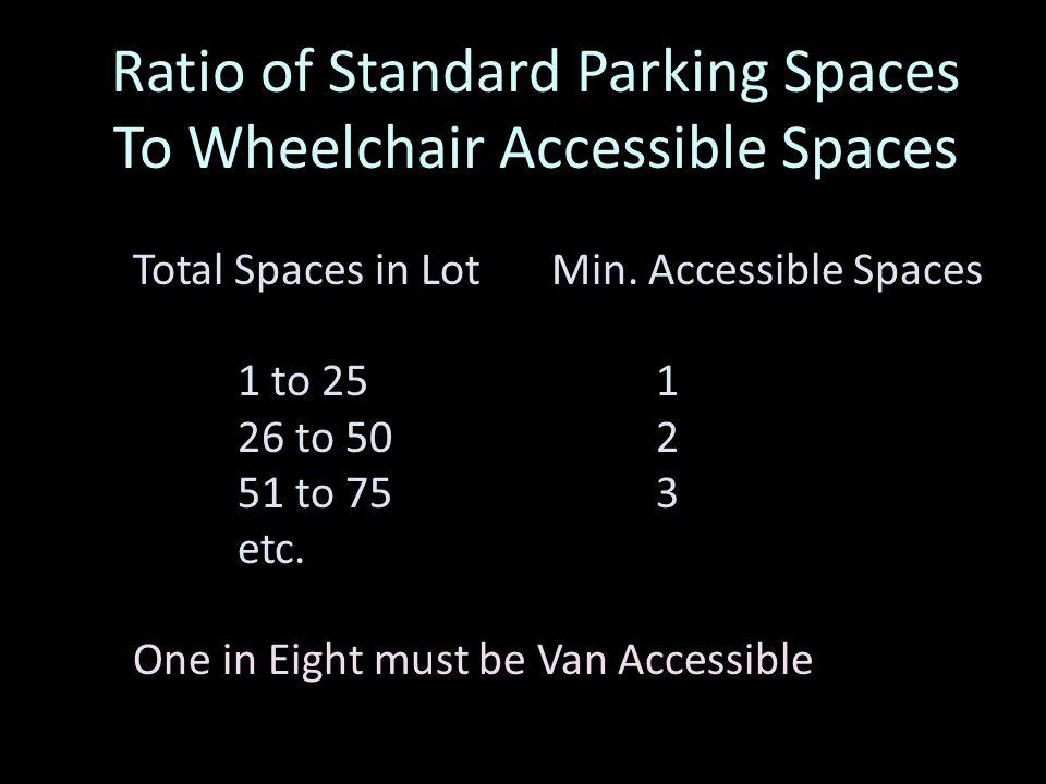 Wheelchair Accessible Parking Requirements Standard 13 x 17 feet Van Accessible 16 x 17 feet 5 foot aisle 8 foot aisle 8 feet