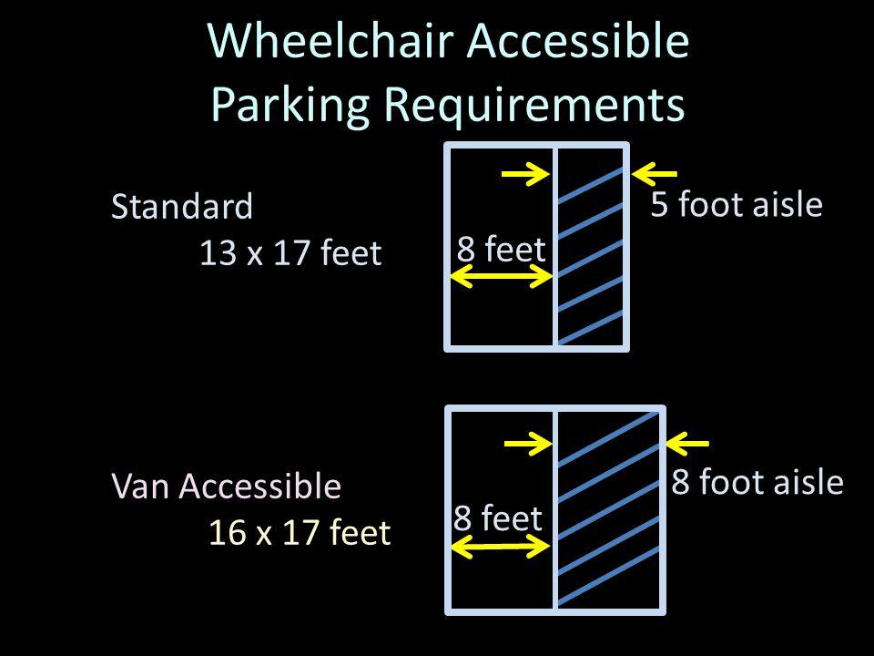 Access Aisles May Be Shared Standard Van Accessible 5 foot aisle 8 foot aisle 8 feet