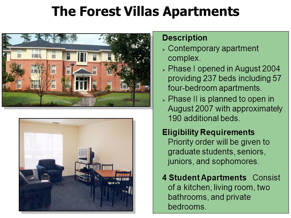The Forest Villas Community Center The Forest Villas Community Center is available for use by all FMU students.