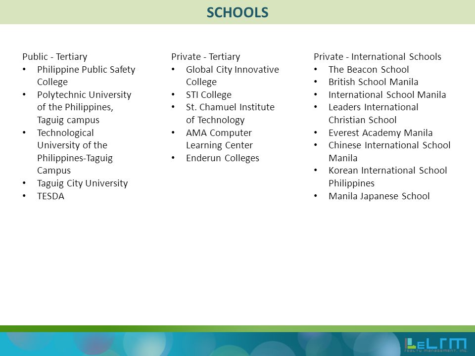 SCHOOLS Public - Tertiary Philippine Public Safety College Polytechnic University of the Philippines, Taguig campus Technological University of the Philippines-Taguig Campus Taguig City University TESDA Private - Tertiary Global City Innovative College STI College St.