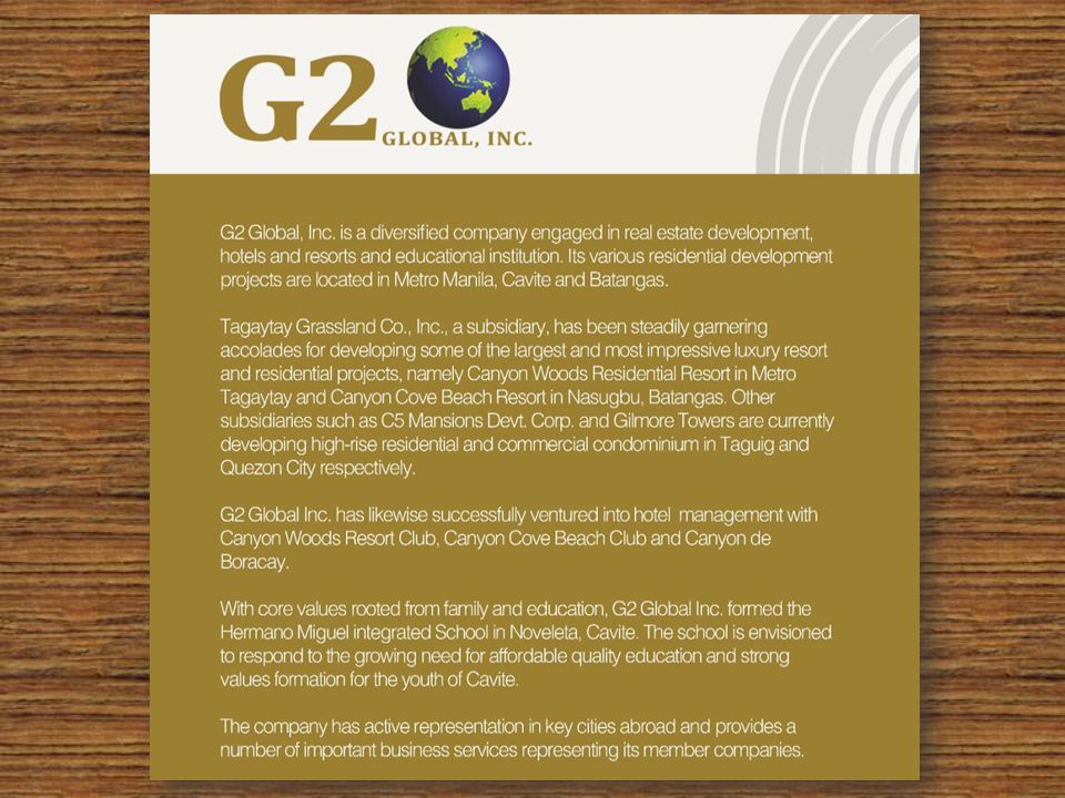 COMPANY PROFILE e-LRM Realty Management, Inc.market all the flagship projects of G2 Global, Inc.
