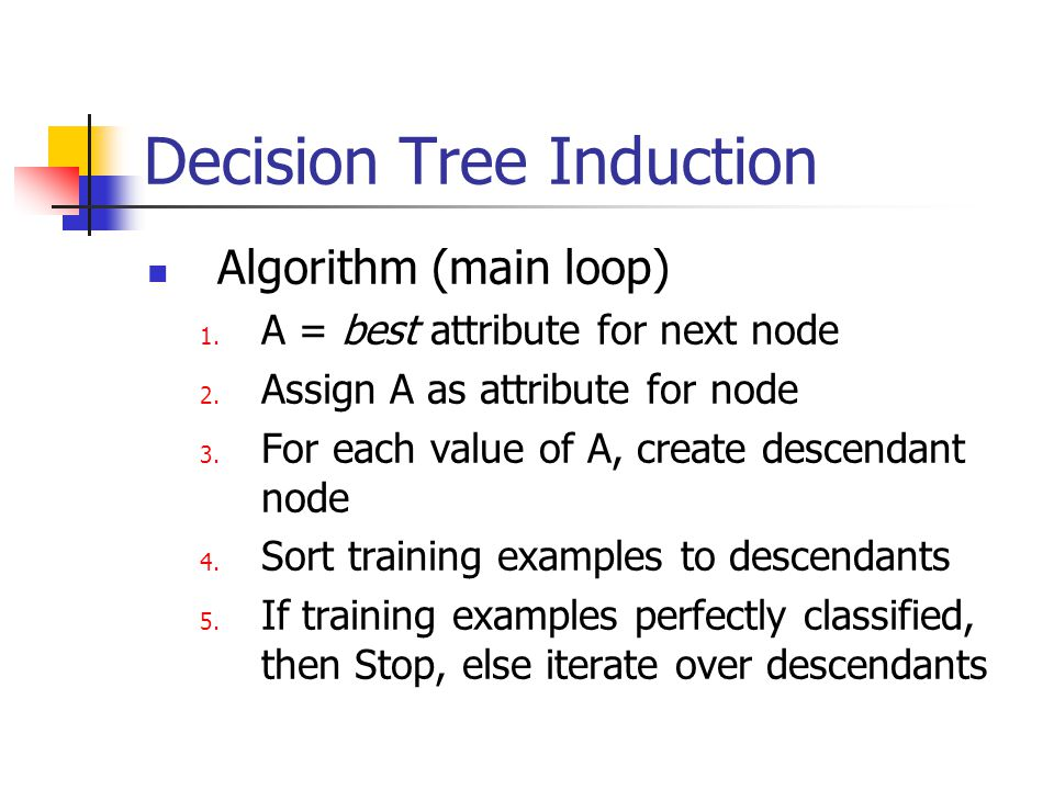 Decision Tree Induction Algorithm (main loop) 1. A = best attribute for next node 2. Assign A as attribute for node 3. For each value of A, create des