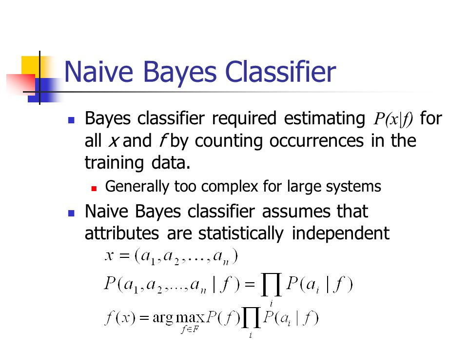 Naive Bayes Classifier Bayes classifier required estimating P(x|f) for all x and f by counting occurrences in the training data. Generally too complex
