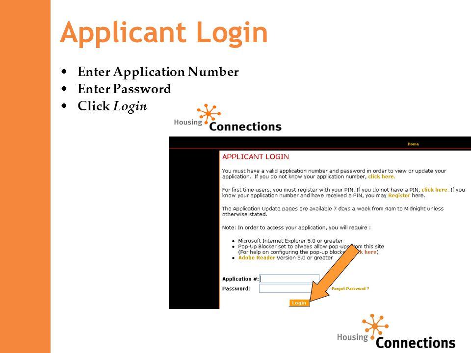 Enter Application Number Enter Password Click Login Applicant Login