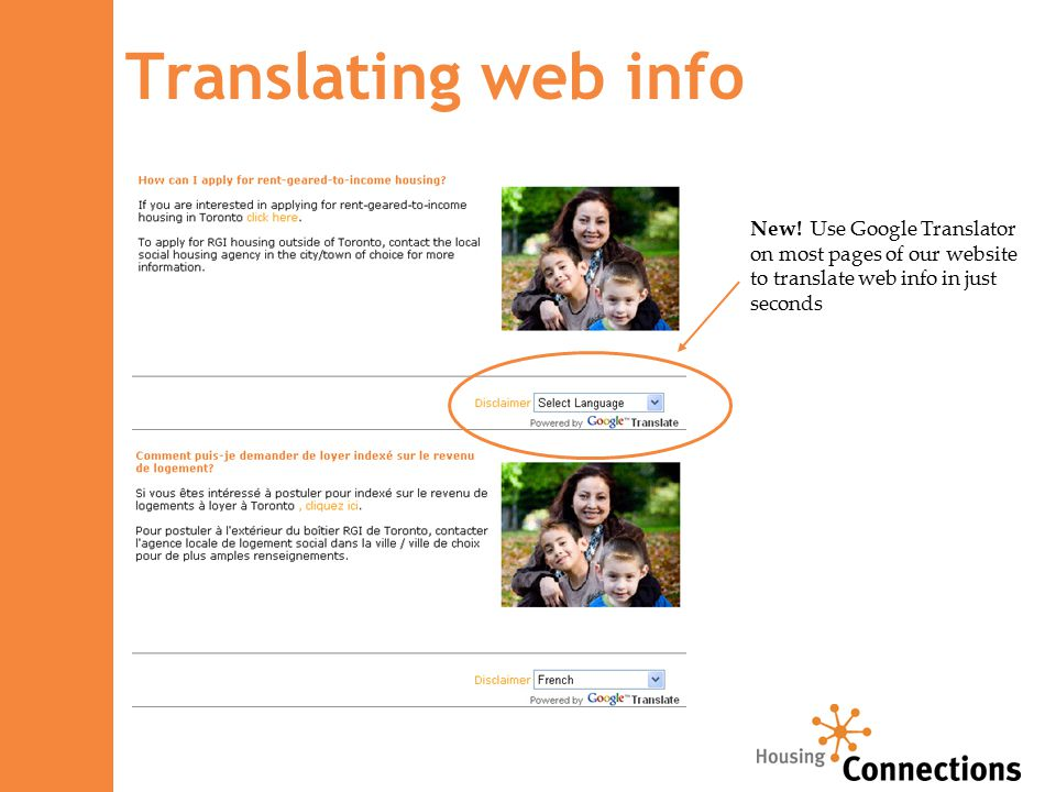 Translating web info New! Use Google Translator on most pages of our website to translate web info in just seconds