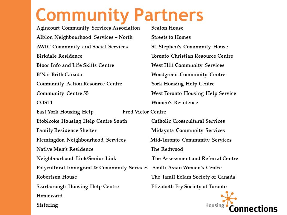 Community Partners Agincourt Community Services AssociationSeaton House Albion Neighbourhood Services – NorthStreets to Homes AWIC Community and Social ServicesSt.