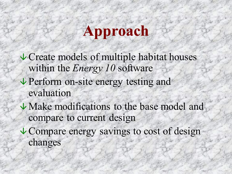 Approach â Create models of multiple habitat houses within the Energy 10 software â Perform on-site energy testing and evaluation â Make modifications