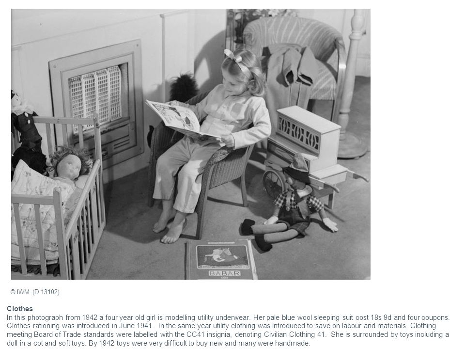 Clothes In this photograph from 1942 a four year old girl is modelling utility underwear.