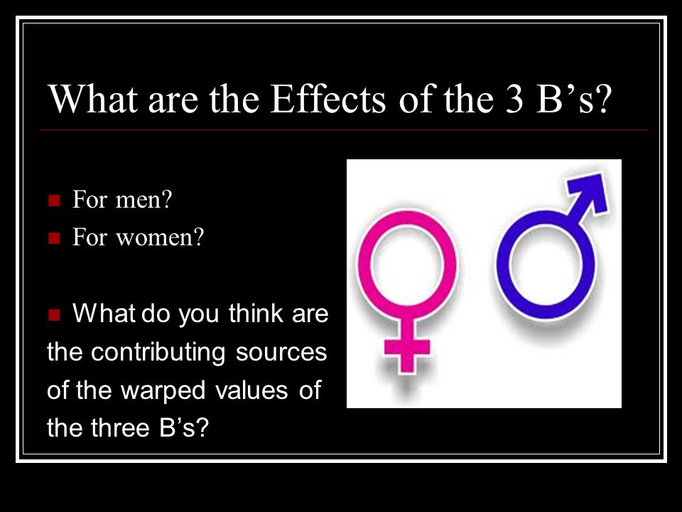 What are the Effects of the 3 B's. For men. For women.